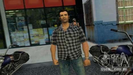 Kockas polo - szurke T-Shirt para GTA Vice City terceira tela