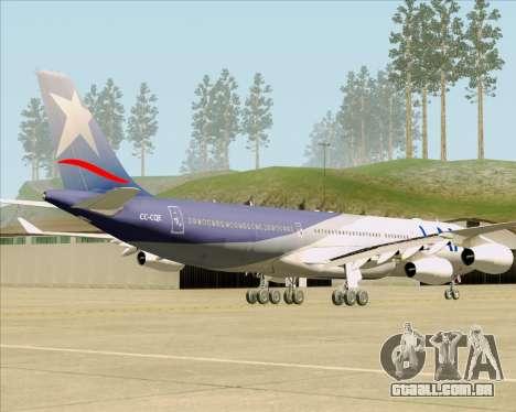 Airbus A340-313 LAN Airlines para GTA San Andreas traseira esquerda vista