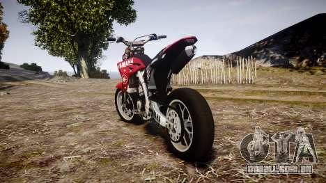 Yamaha YZF-450 SuperMoto Custom para GTA 4 traseira esquerda vista