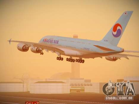 Airbus A380-800 Korean Air para GTA San Andreas traseira esquerda vista