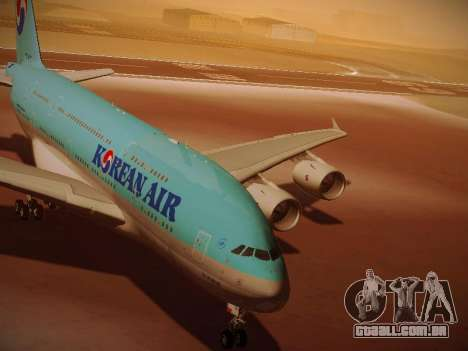 Airbus A380-800 Korean Air para GTA San Andreas esquerda vista