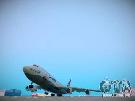 Boeing 747-438 Qantas Boxing Kangaroo para GTA San Andreas traseira esquerda vista