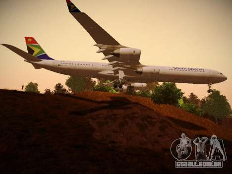 Airbus A340-600 South African Airways para GTA San Andreas vista traseira