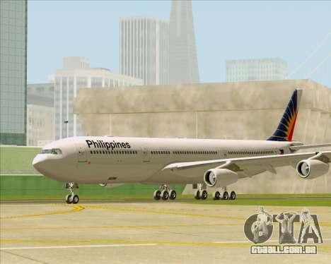 Airbus A340-313 Philippine Airlines para GTA San Andreas traseira esquerda vista