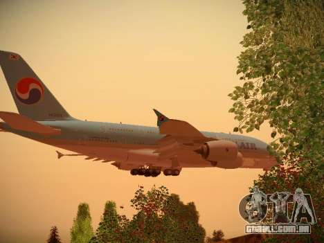 Airbus A380-800 Korean Air para GTA San Andreas vista traseira