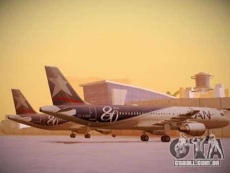 Airbus A320-214 LAN Airlines 80 Years para GTA San Andreas traseira esquerda vista