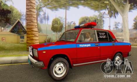 VAZ 2107 Polícia para GTA San Andreas esquerda vista
