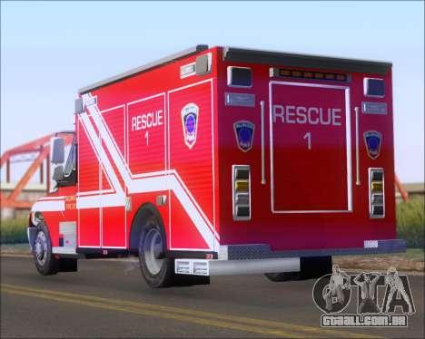 Pierce Commercial TFD Rescue 1 para GTA San Andreas traseira esquerda vista