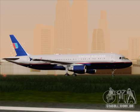 Airbus A320-232 United Airlines (Old Livery) para GTA San Andreas vista traseira