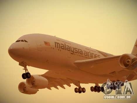 Airbus A380-800 Malaysia Airlines para GTA San Andreas esquerda vista