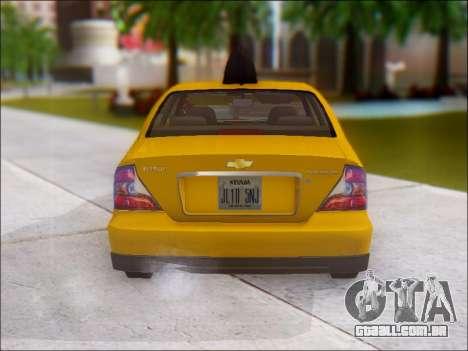 Chevrolet Evanda Taxi para GTA San Andreas vista direita