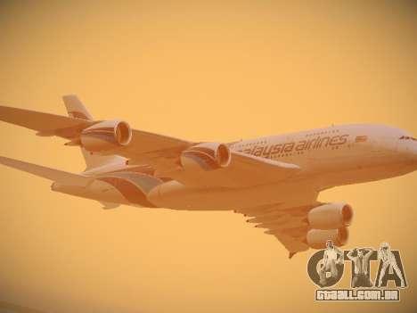 Airbus A380-800 Malaysia Airlines para GTA San Andreas vista superior