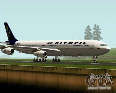 Airbus A340-313 Olympic Airlines para GTA San Andreas traseira esquerda vista