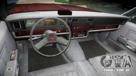 Chevrolet Impala 1985 para GTA 4 vista de volta