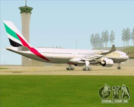 Airbus A330-300 Emirates para GTA San Andreas vista traseira