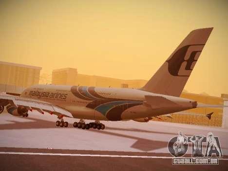 Airbus A380-800 Malaysia Airlines para GTA San Andreas vista inferior