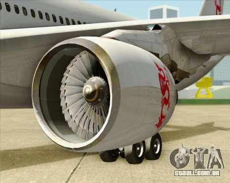 Airbus A330-300 Dragonair para GTA San Andreas vista interior