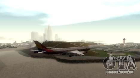 Boeing 777-280ER Asiana Airlines para GTA San Andreas vista direita