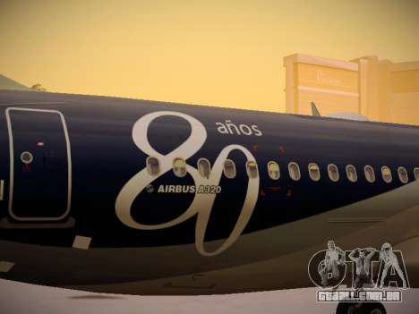 Airbus A320-214 LAN Airlines 80 Years para GTA San Andreas vista superior