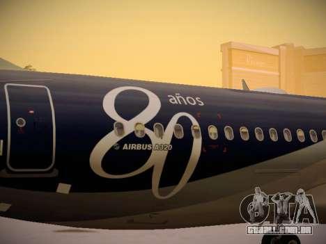 Airbus A320-214 LAN Airlines 80 Years para GTA San Andreas vista superior