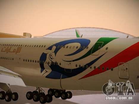 Airbus A380-800 Emirates Rugby World Cup para GTA San Andreas vista interior