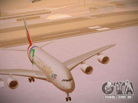 Airbus A380-800 Emirates Rugby World Cup para GTA San Andreas vista inferior