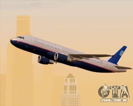 Airbus A320-232 United Airlines (Old Livery) para GTA San Andreas vista interior