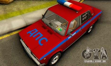 VAZ 2107 Polícia para GTA San Andreas vista traseira
