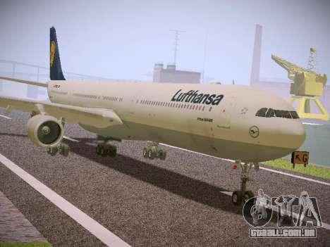 Airbus A340-600 Lufthansa para GTA San Andreas traseira esquerda vista