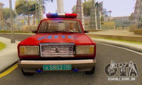 VAZ 2107 Polícia para GTA San Andreas vista direita