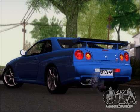 Nissan Skyline GT-R R34 V-Spec II para GTA San Andreas traseira esquerda vista