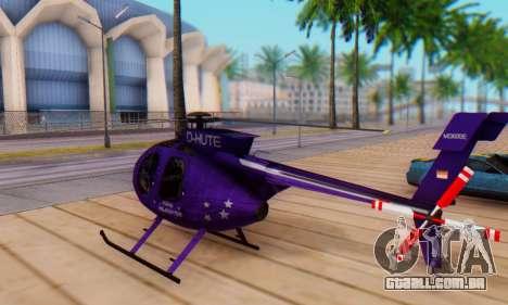 O MD500E helicóptero v1 para GTA San Andreas traseira esquerda vista