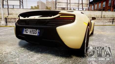 McLaren 650S Spider 2014 [EPM] Yokohama ADVAN v3 para GTA 4 traseira esquerda vista
