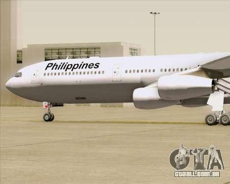 Airbus A340-313 Philippine Airlines para GTA San Andreas vista superior