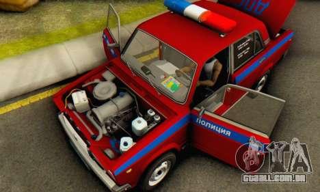 VAZ 2107 Polícia para GTA San Andreas vista interior
