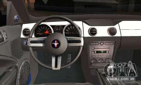 Ford Mustang GT 2005 v2.0 para GTA San Andreas traseira esquerda vista