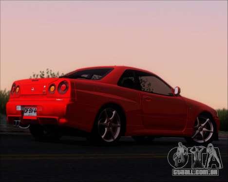 Nissan Skyline GT-R R34 V-Spec II para GTA San Andreas vista direita