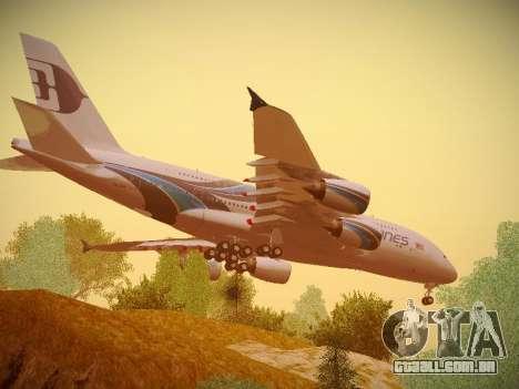 Airbus A380-800 Malaysia Airlines para GTA San Andreas vista traseira