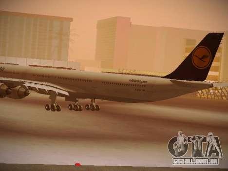 Airbus A340-600 Lufthansa para GTA San Andreas vista traseira