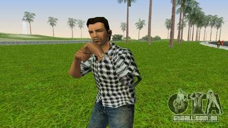 Kockas polo - fekete T-Shirt para GTA Vice City segunda tela