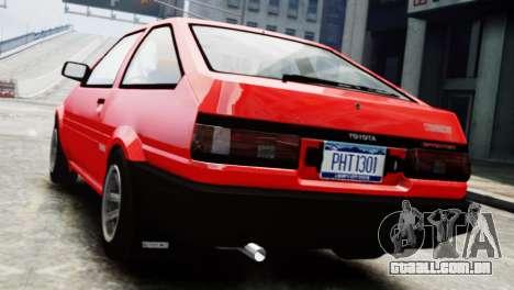 Toyota Sprinter Trueno AE86 SR para GTA 4 esquerda vista