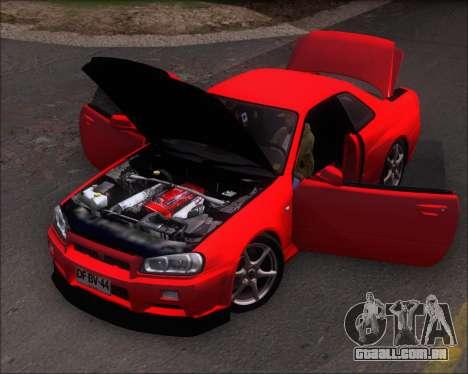 Nissan Skyline GT-R R34 V-Spec II para GTA San Andreas vista traseira