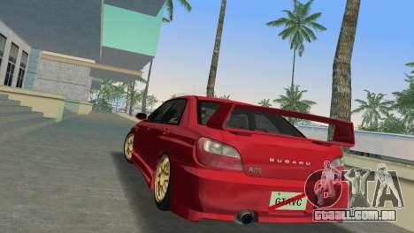 Subaru Impreza WRX 2002 Type 6 para GTA Vice City vista traseira esquerda