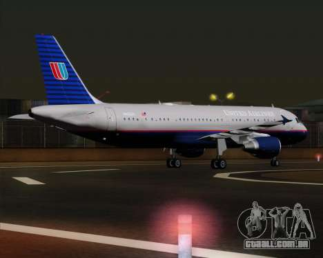 Airbus A320-232 United Airlines (Old Livery) para GTA San Andreas vista direita