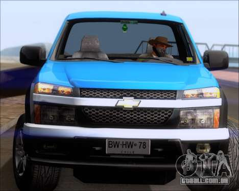 Chevrolet Colorado para GTA San Andreas vista inferior