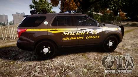 Ford Explorer 2013 Sheriff [ELS] Virginia para GTA 4 esquerda vista