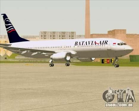 Boeing 737-800 Batavia Air para GTA San Andreas traseira esquerda vista