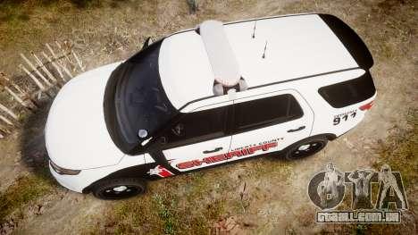 Ford Explorer 2013 LC Sheriff [ELS] para GTA 4 vista direita