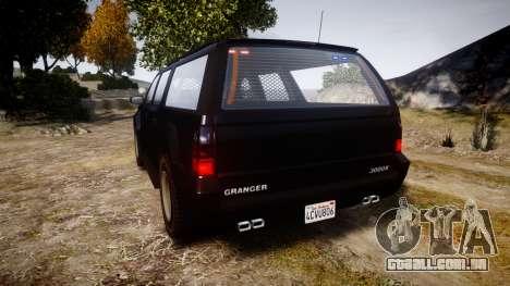 GTA V Declasse Granger Unmarked [ELS] Slicktop para GTA 4 traseira esquerda vista