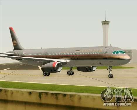 Airbus A321-200 Royal Jordanian Airlines para GTA San Andreas traseira esquerda vista